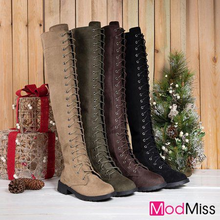 312732afebeb Zipper Winter Low Heel Faux Suede Knee Boots Boots  Modmiss