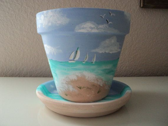 Hand painted Flower Pot & Saucer: 6  Beach by RaindropsNRoses