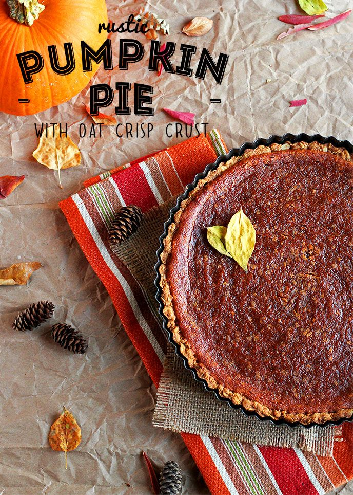 Rustic Vegan Oat Crisp Pumpkin Pie with Coconut Whipped Cream - ilovevegan.com