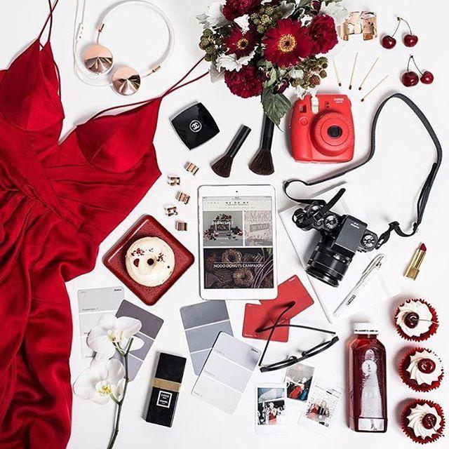 Flatlays /flatlays/ Lady in red. Flat...Instagram photo | Websta (Webstagram)