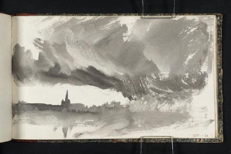 """Joseph Mallord William Turner, """"? A templom tornya tükröződik a vízben, a Viharfelhők"""" c.1823-4"""