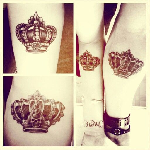 Crown couple tattoos. King and queen.  Minus the skull