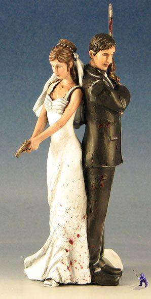 Zombie Hunter Wedding Cake Topper