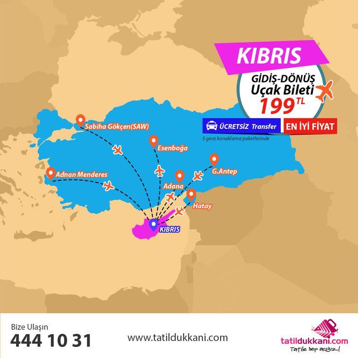 Uçaklı Kıbrıs Paketleri...  Kıbrıs'a Türkiye'nin birçok noktasından gidiş-dönüş uçak bileti sadece 199 TL!  Üstelik Ücretsiz Transfer Hizmeti Hediye!  Kıbrıs'a Uçaklı Paketlerimizi İncelemek için Tıklayınız...  http://www.tatildukkani.com/kibris-turlari