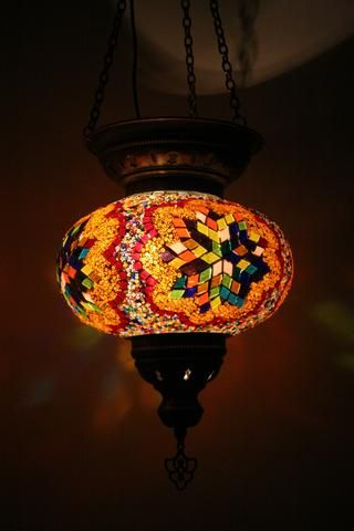 Orange Floral Turkish Mosaic Hanging Lantern