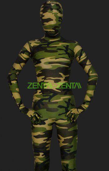 Zentai-zentai.com - Camouflage Unisex Lycra Spandex Full-body Zentai Suit(Dark Green)