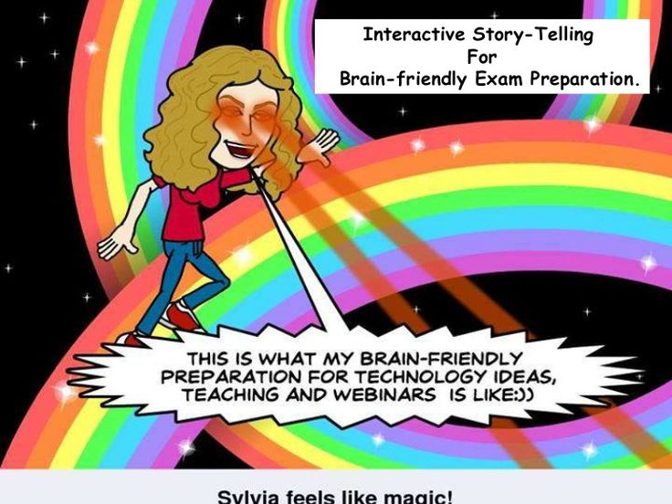Presentation of interactive storytelling for exam preparation.