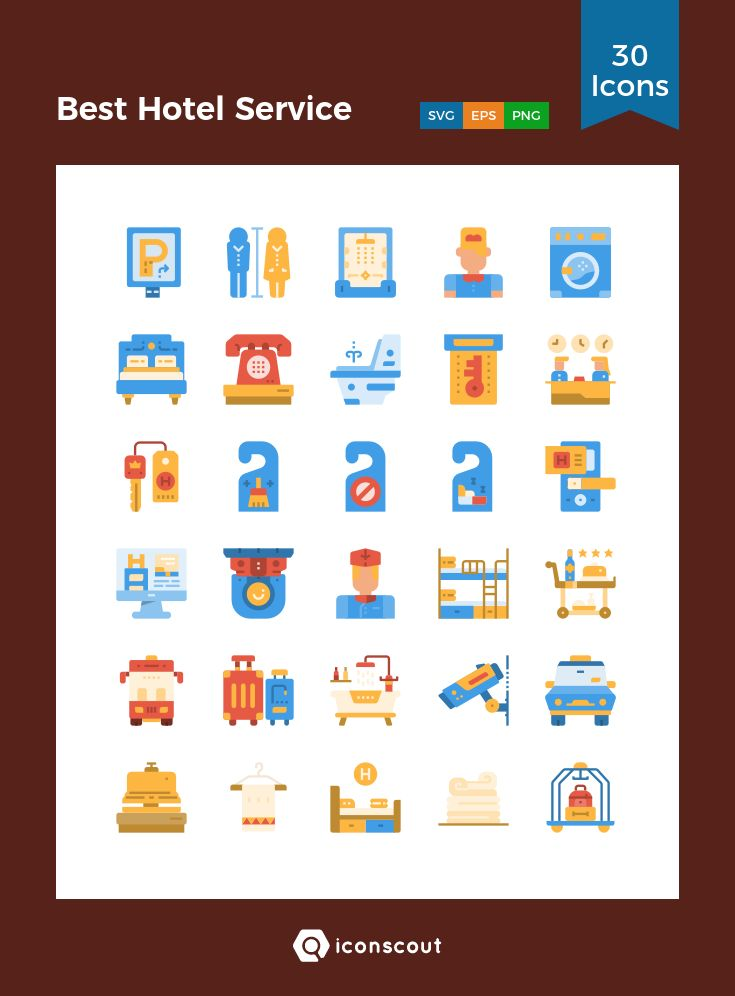 Best Hotel Service   Icon Pack - 30 Flat Icons
