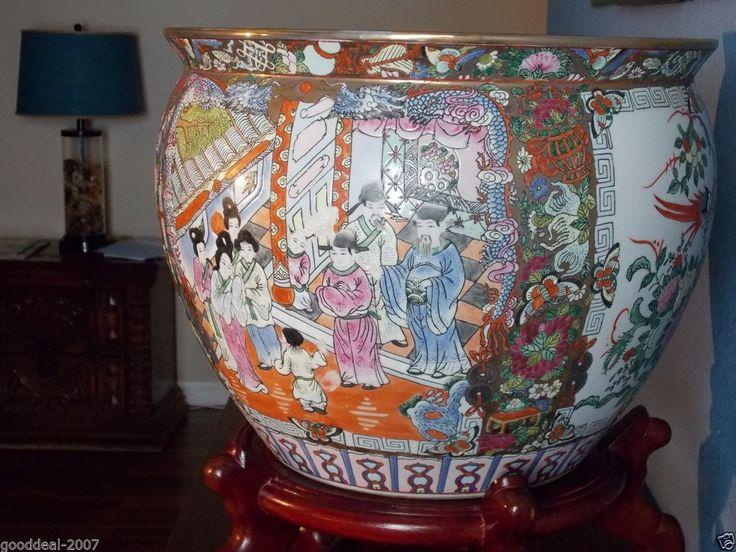 708 Very Large Antique Chinese Fish Bowl Jardiniere Flower Pot Guangxu C1875 Porcelain