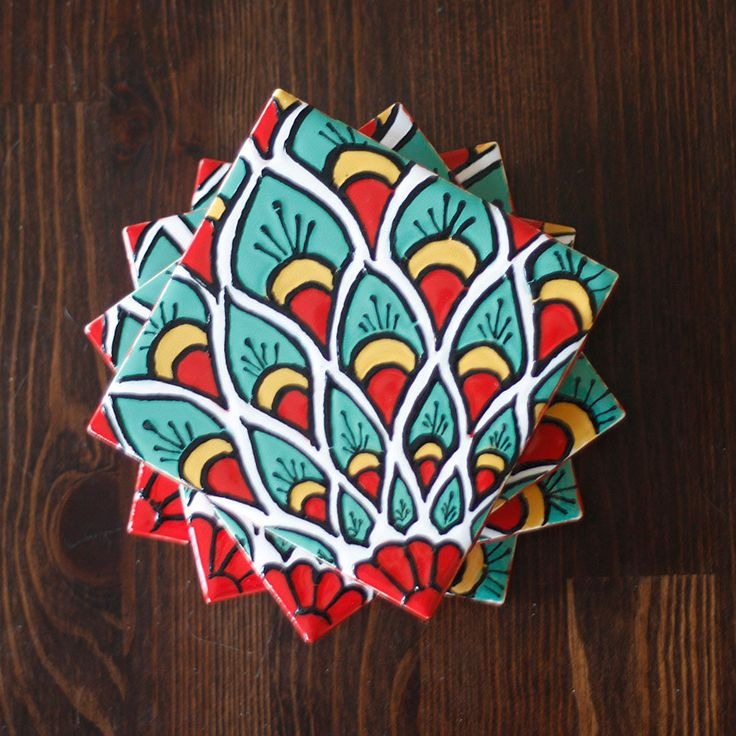 "Teal, Red & Yellow Talavera Style Coasters/Talavera Style Tiles -- ""Peacock"" -- Set of Four. $29.95, via Etsy."