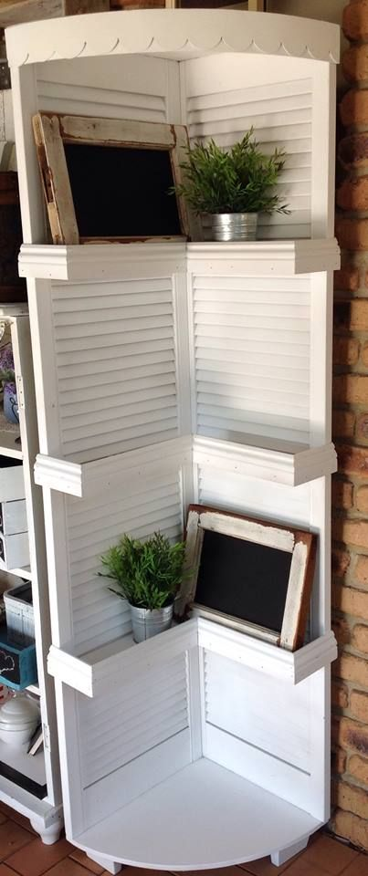 "Old Louvre Doors Upcycled to Create a Corner Unit by ""Love It White"" on Facebook"