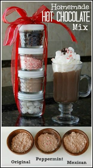 Homemade Hot Chocolate Mix Recipe - 3 flavors (Peppermint, Original, & Mexican). Fun Hot Cocoa for a fun and easy holiday and Christmas gift.