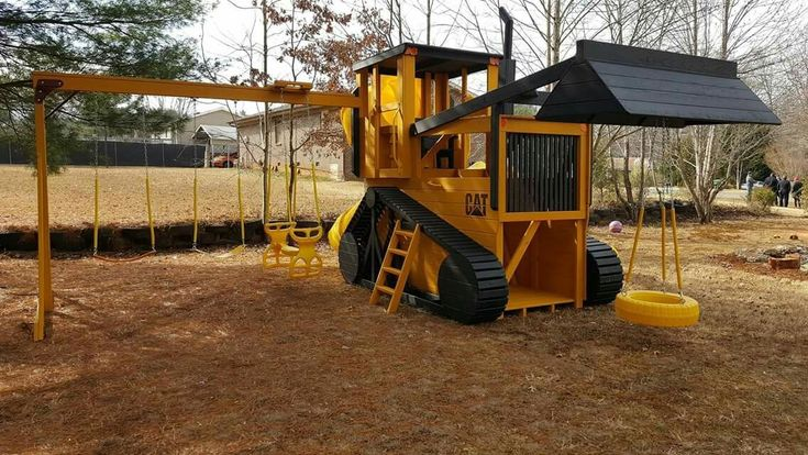 We designed this Bulldozer Playground set for a very special customer:  Hello,  I thought I would share with you a few photos of the delivered and installed bulldozer playset. It is just perfect... Thank you again for your assistance and kindness during the process.  Angela L. Make-A-Wish®  http://www.pinecraft.com/amish-made-23x12-ft-bulldozer-and-backhoe-playground-set.html