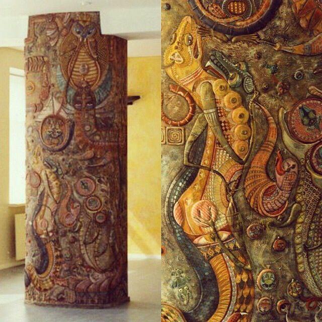 рельеф, роспись колонна проект художники МАСТЕРСКАЯ VISAvART