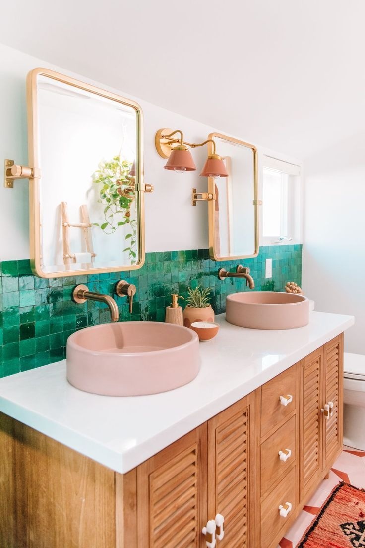 20 Photos That Will Prove Decorating With Pink And Green Is The Next Big Thing Living After Midnite In 2020 Green Tile Bathroom Master Bathroom Makeover Green Tile Bathroom Decor