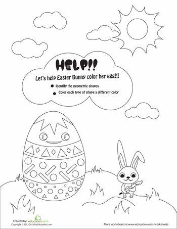 Easter Shapes Shape And Worksheets