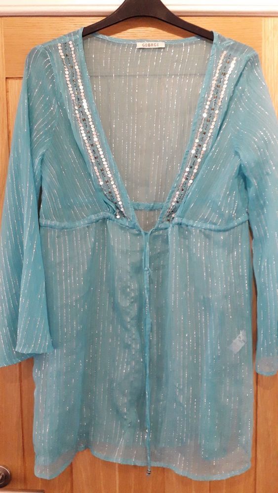 4f03bab0d0 Ladies Beach Cover Up Blue Sparkly Size Large By George #fashion #clothing # shoes #accessories #womensclothing #swimwear (ebay link)