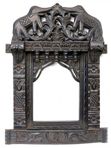 Elephant Design Ornate Wooden Mirror | Bringing It All Back Home