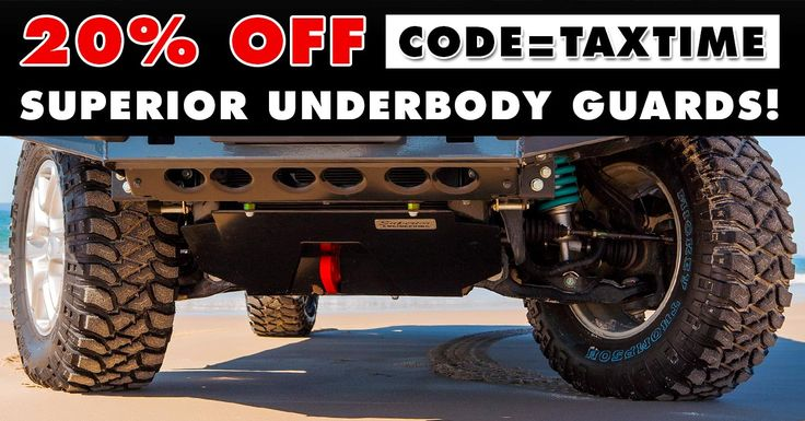 Underbody Guard Sale... ONLY 1 week left.  We are offering 20% OFF ALL Superior Made under vehicle protection including bash plates, diff guards, pinion guards, diff brace kits, radiator guards, transfer case guards and more!  Promo Code: TAXTIME  Sale ends on Thursday 3rd of August 2017.  For internet orders just enter in the promo code at the checkout to receive your discount. For phone sales and walk in customers just inform the sales staff of the promo code.  Start Shopping…
