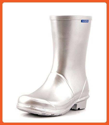 Luckers Women's Silver Metallic Wellies Rain Boots (7 B(M) US) - Outdoor shoes for women (*Amazon Partner-Link)