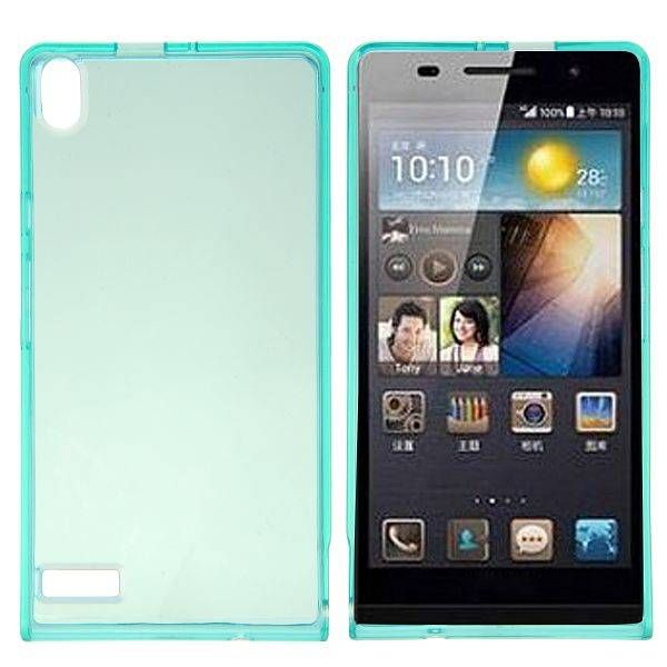 Blauw / transparant TPU hoesje voor Huawei Ascend P6