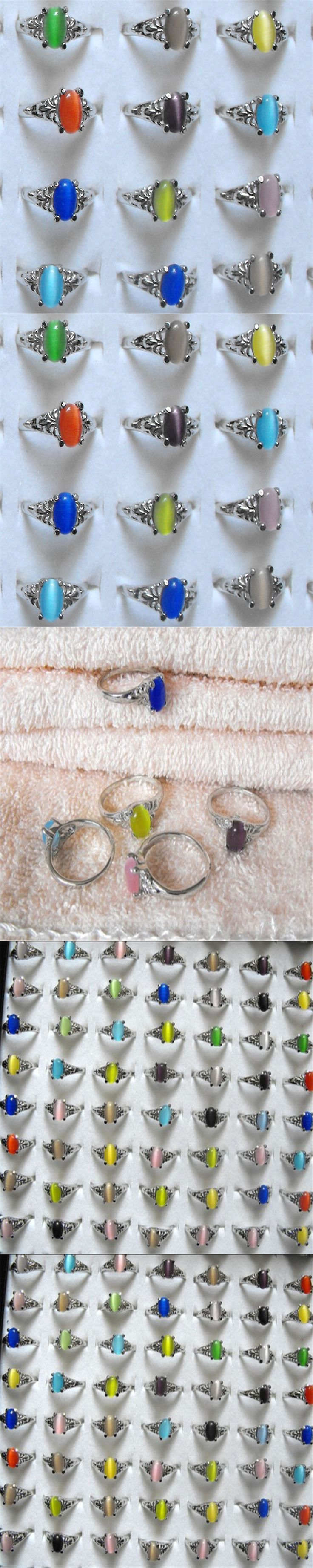 Wholesale Mix lot 15pcs Cat Eye Stone Ring Fashion Women Jewelry Charming For Party Wedding Rings Free shipping