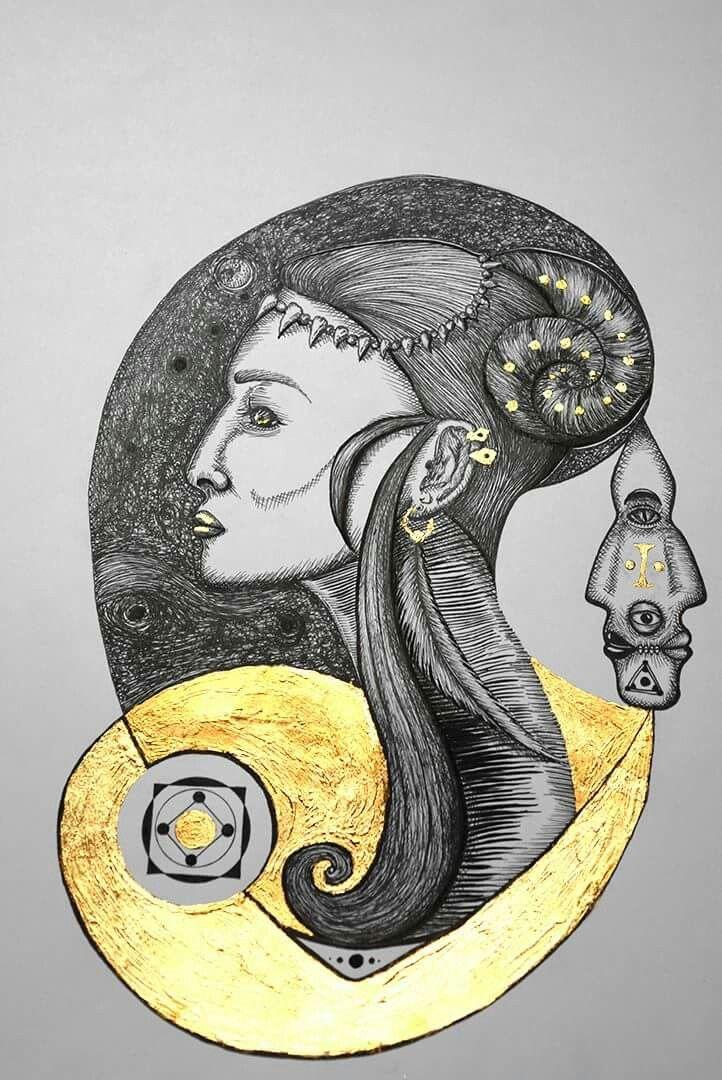 Reina del sur. Rapidografos y laminilla de oro. Oscar_ilustra