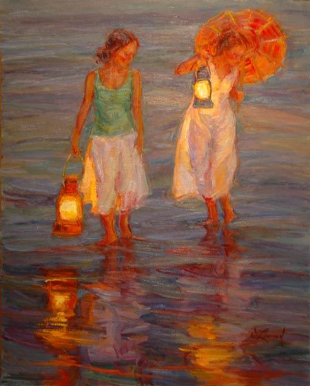 """Copyright Diane Leonard - """"Sisters"""" This artist's ability to paint with lantern light is incredible."""