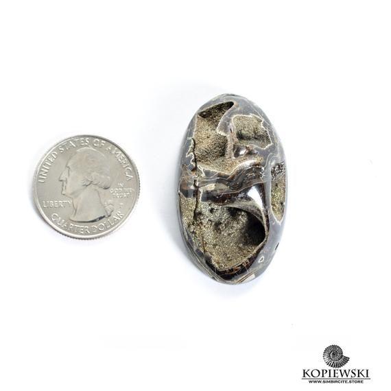 cabochon  from Russia 43\u044537\u04456 mm Ammonite-simbircite geode with rainbow pyrite marcasite