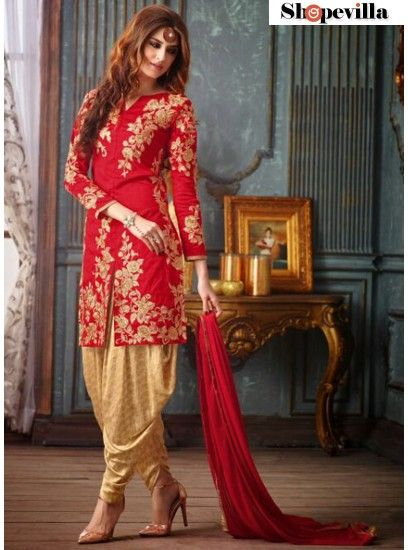 Red & Golden Colour Banarasi Designer Embroidery Patiala Style Suit-3205