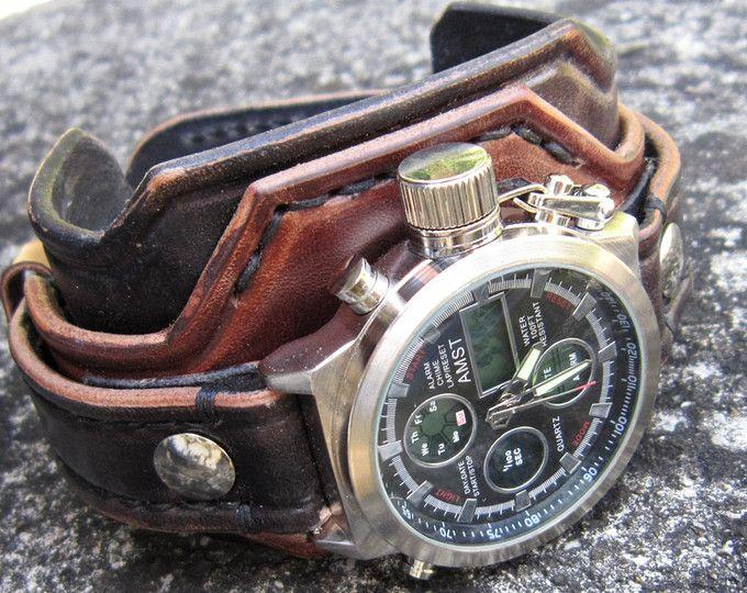 Reloj vintage de cuero marrón, hombres de cuero, reloj de pulsera, regalo para él