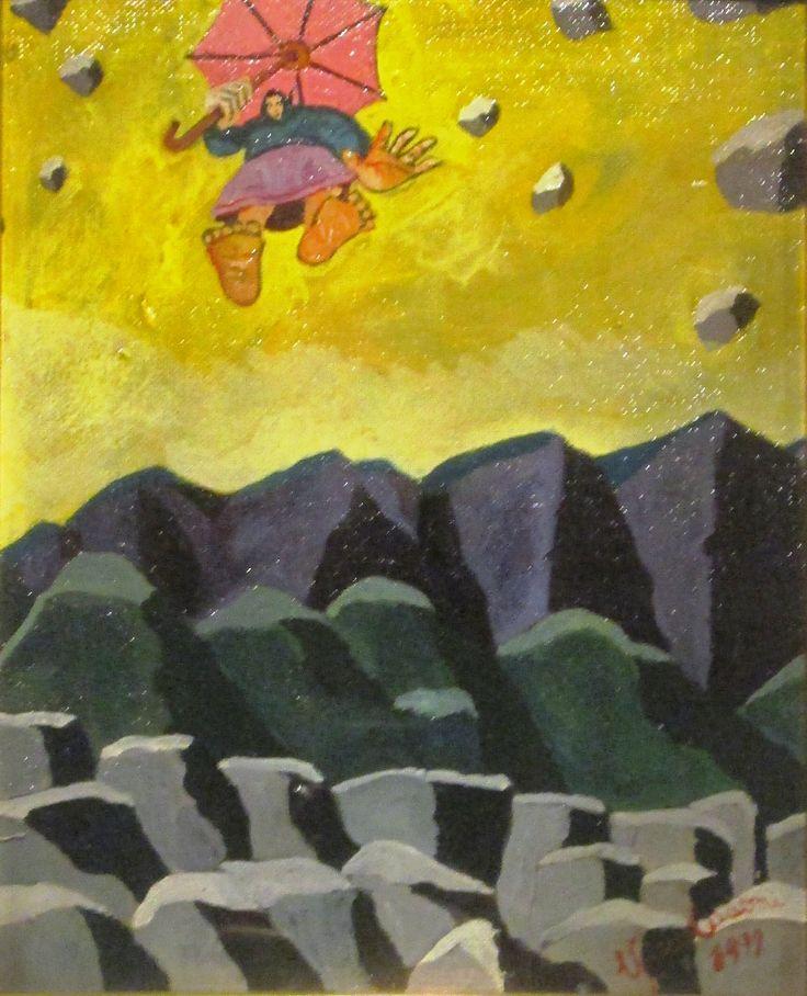 Sopra le pietre, sotto le pietre cm 20 x 25 Tecnica: Acrilico su tavoletta Anno 1999