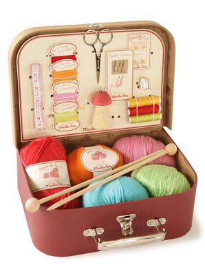Suitcase Knitting and Sewing Kit - this would be a perfect gift to make for a knitter/crocheter friend! Find an old, cute suitcase, coat/paint the inside as needed, add something to store craft tools, and maybe throw in some yarns too...