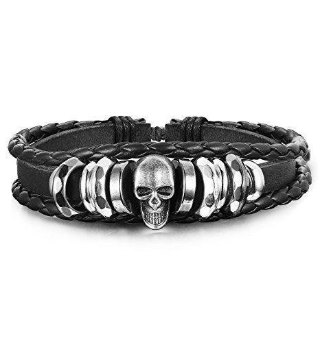 8 Pcs Leather Bracelet for Men Cuff Beaded Bracelets Leather Wristband – Innovat…   – Mens jewelry