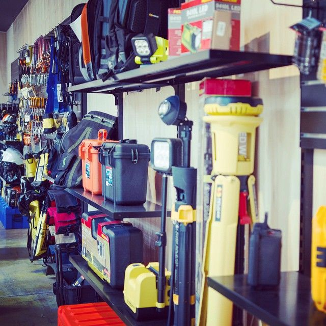 The shelves are stocked with #petzl #msasafety #sundstrom #capitalsafety #sala #pelicanproducts #kong #edelrid #gopro with all the best #ropeaccess #safetyatheights #rescue and #safety gear with #carabiners #pelicancases #torches #ascenders #descenders #pulleys #lanyards and heaps more