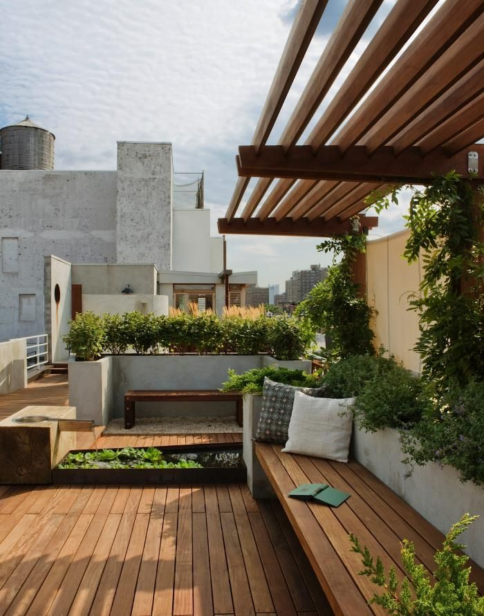 Outdoor space - Pulltab-Design-East-Village-rooftop-garden: Ideas, Rooftops Gardens, Benches, Pergolas, Decks, Outdoor, Landscape, Terraces, Roof Gardens