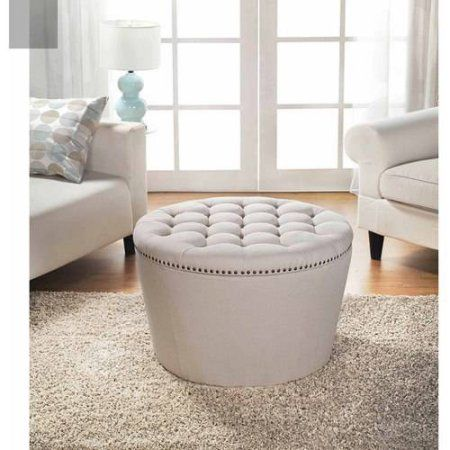 Better Homes and Gardens Round Tufted Storage Ottoman with Nailheads,  Multiple Finishes - 25+ Best Ideas About Ottoman With Storage On Pinterest Storage
