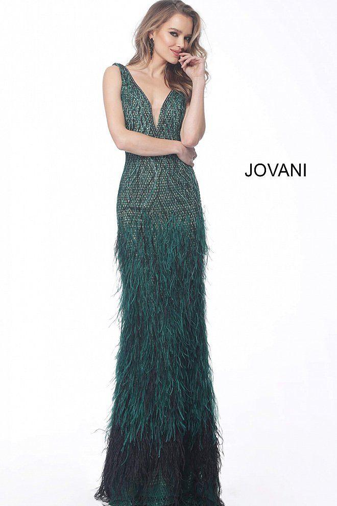 Jovani Emerald Feather Bottom Embellished Evening Gown 66003 Jovani Evening Dress Evening Dresses Evening Dress Fashion