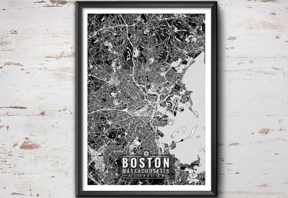 Boston Map with Coordinates, Boston Wall Art, Boston Map, Map Art, Map Print, Boston Print, Boston Art, Boston Decor, Boston Poster, Boston