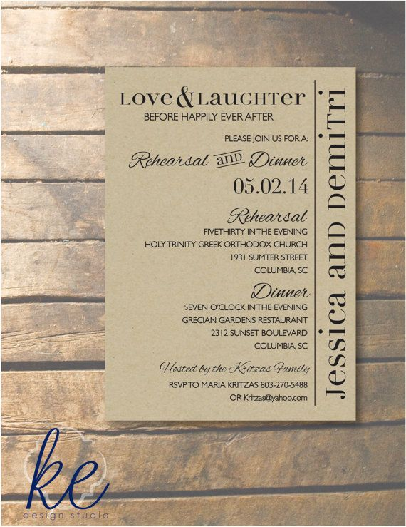This listing is for a set of 24 Rehearsal Dinner invitations, printed on paper board card stock and 24 white envelopes. The invitations are trimmed to 5x7 and can be completed with rounded corners upon request. Ready to purchase? Make sure to include the following information in the