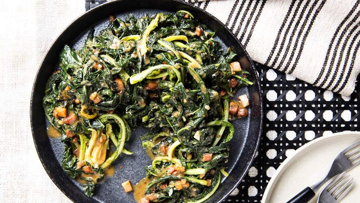 The miso in this dish braises and melds with the other flavours, giving the dish intense, indefinable character. Serve this kale/silverbeet dish with poultry, fish on the bone, veal, or alongside a simple risotto.