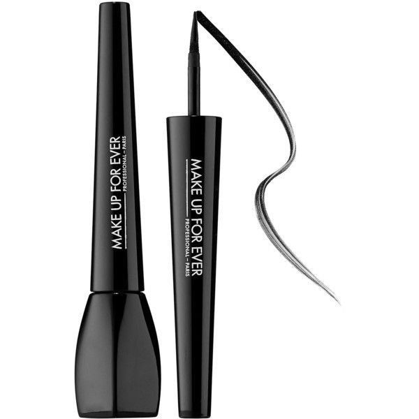MAKE UP FOR EVER Ink Liner ($23) ❤ liked on Polyvore featuring beauty products, makeup, eye makeup, eyeliner, beauty, 34. eye makeup., accessories, black liquid eyeliner, black eye liner and thick black eyeliner