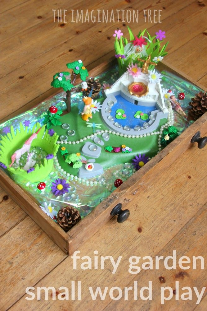 Fairy garden small world play - in a drawer! What a wonderful way to bring fairies into your house to encourage imaginative play for kids.