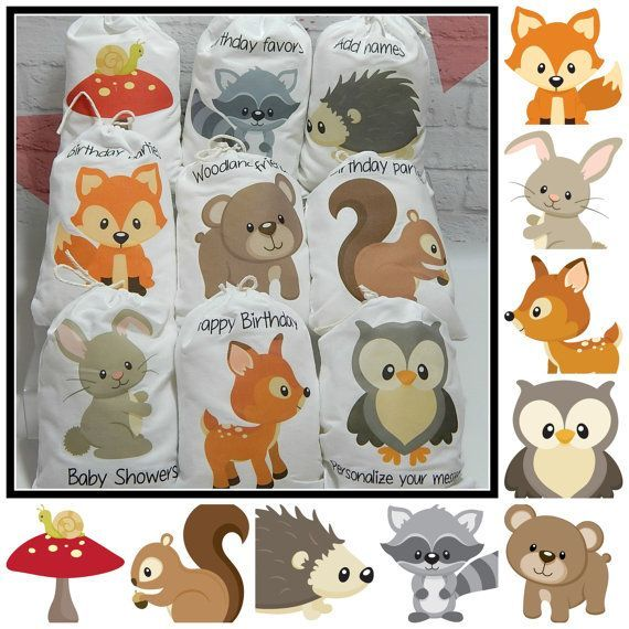 Party Favor Bags Forest Woodland Animals For Baby Shower And Birthdays For Treats And Gifts Personalized 5 X 7 Or 6 X 8 Qt Baby Shower Woodland Party Favor Bags