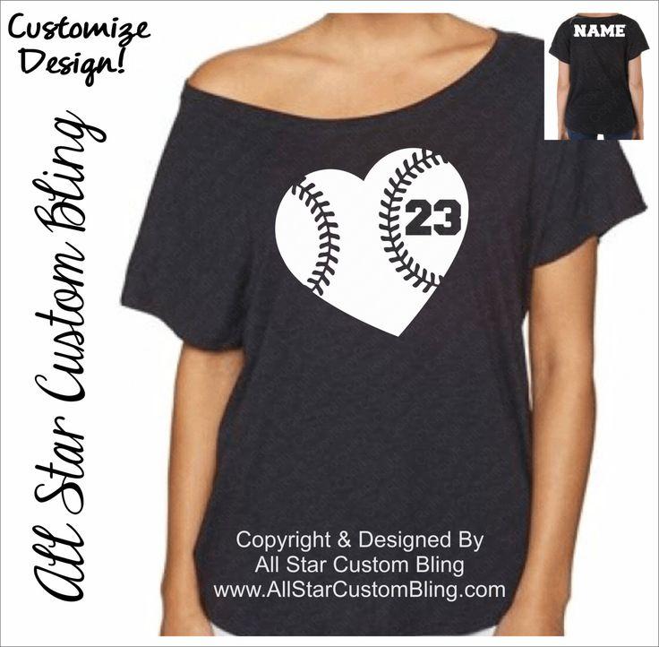Custom Baseball Heart Dolman Off Shoulder Shirt, Custom Baseball Tee, Mom Baseball Tshirt, Baseball Mom Tshirt by AllStarCustomBling on Etsy