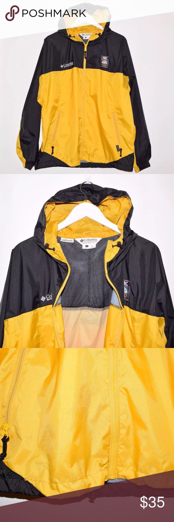 Rare Columbia NBC Olympics Packable Windbreaker Brand: Columbia Item name: Men's NBC Olympics Lightweight Packable Windbreaker Color: Black / Yellow Condition: This is a pre-owned item. Aside from some small blemishes on the front (see photo) it is in great used condition with no stains, rips, holes, etc. Comes from a smoke free household. Size: Large Measurements: Pit to Pit - 28 inches Neckline to bottom - 28 inches Columbia Jackets & Coats Windbreakers