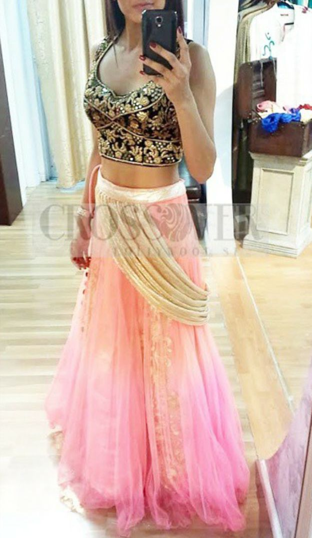 Crossover Bollywood Light Pink #Lehenga With Black Embroidered #Blouse.