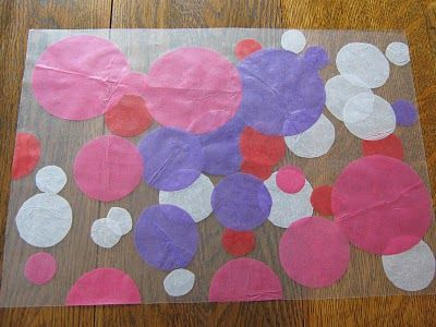 place mats - contact paper + tissue paper circles (make hearts)
