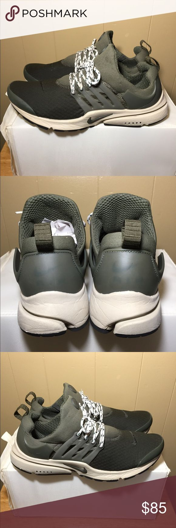 """Nike Air Presto Essential """"cargo khaki"""" - mens size:11.  👉🏽PRICE IS FIRM👈🏽 -colorway:Cargo Khaki/Rattan/Black/Cargo Khaki -stylecode:848187 301 -Release Date:2016 -condition:slight signs of wear(replacement laces-don't have the original ones comrs with both sets seen in pics)top hole strap is cut⬅️ -NO BOX⬅️ -100% authentic⬅️ -🚫no trades🚫 -PRICE IS FIRM-NO OFFERS-⬅️ -sold as is!!!please look at all pictures and ask questions before buying shoes ⬅️ -irrelevant comments will get you…"""