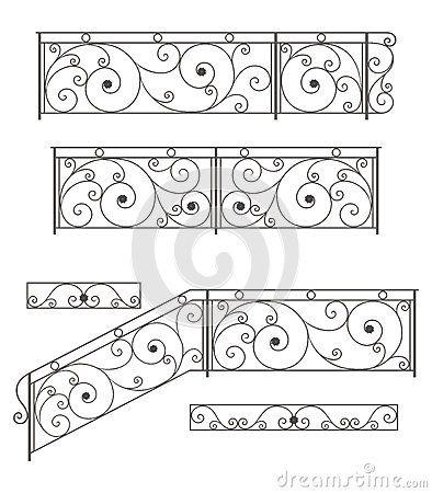 Cerco, cerca e grades das escadas do ferro forjado